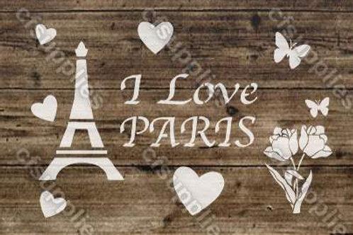 I Love Paris Shabby Chic mylar stencil