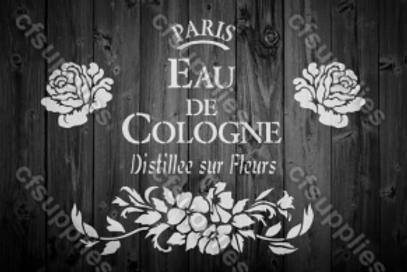 Eau de Cologne Shabby Chic French Vintage Mylar Stencil