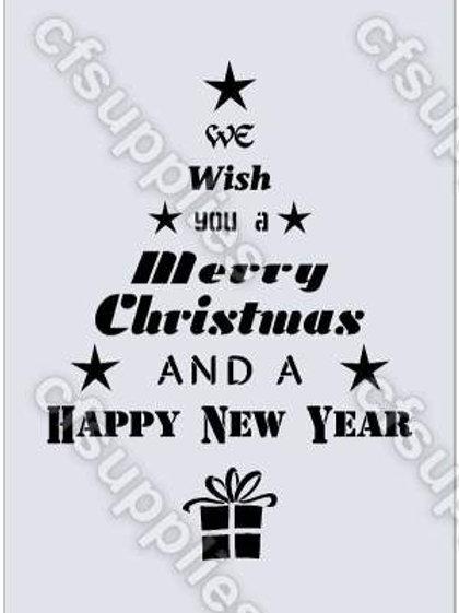Christmas Tree Shabby Chic mylar stencil