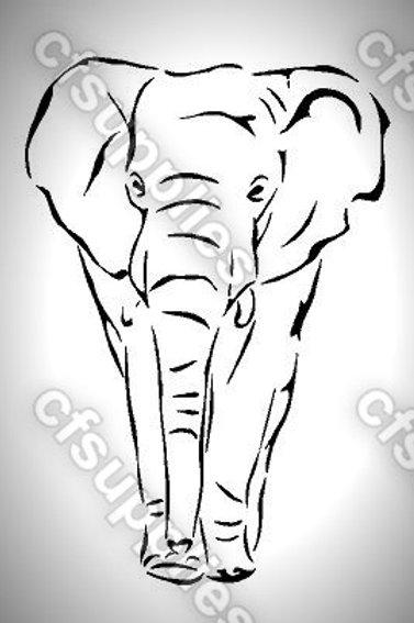 Elephant Mylar Stencil Sheet Design.