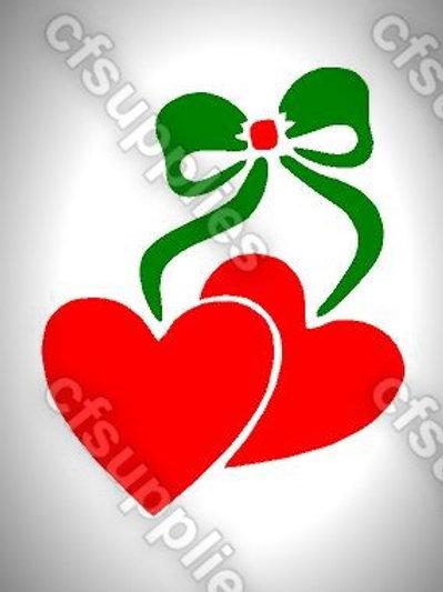 Heart & Bow Mylar Stencil Sheet Design.