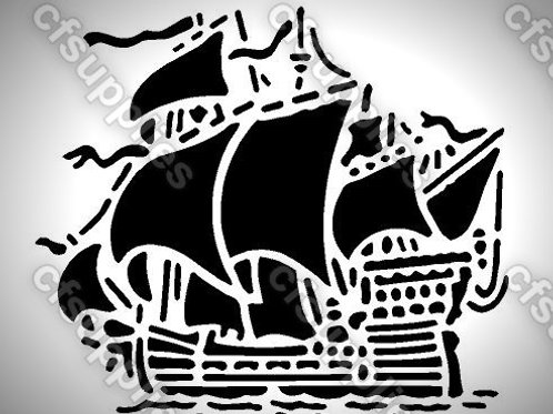 Galleon Ship Mylar Stencil Sheet Design.