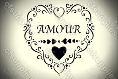 Amour Shabby Chic French Vintage Mylar Stencil