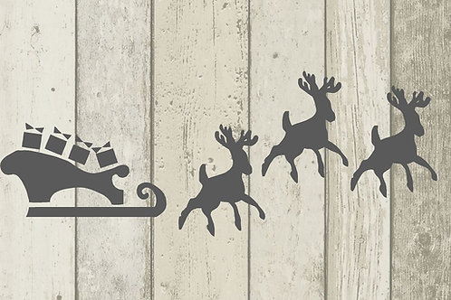 Sleigh and Reindeers 125/190 micron in A5/A4/A3 sizes (1)