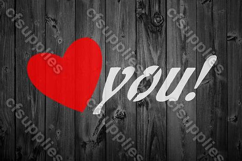 Love You Shabby Chic mylar stencil