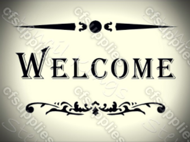 Welcome Shabby Chic French Vintage Mylar Stencil