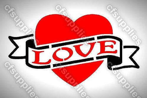Love Heart Mylar Stencil Sheet Design.