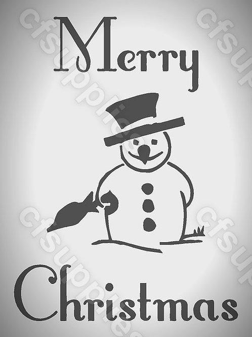 Merry Christmas Snowman Mylar Stencils