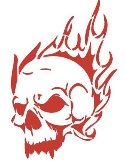 Skull of Flames Mylar Stencil