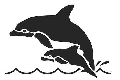 Dolphins mylar stencil 125/190 micron in A5/A4/A3 sizes
