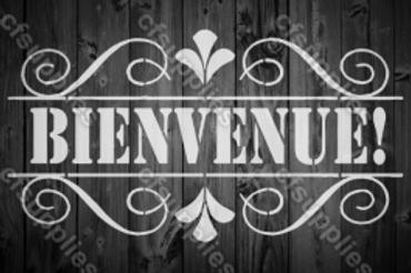 Bienvenue Shabby Chic French Vintage Mylar Stencil