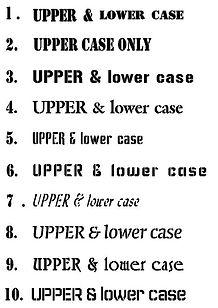 Choice of Mylar stencil fonts