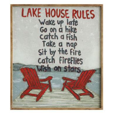 """Lake House Rules ..."" Framed Wall Art"