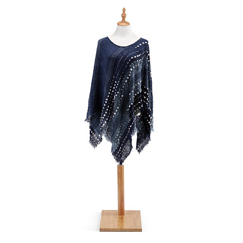 Textured Poncho in Navy