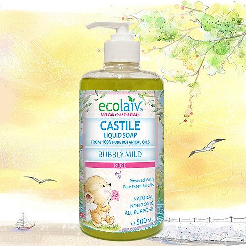 Ecolaiv Castile Bubbly Mild Rose Liquid Soap