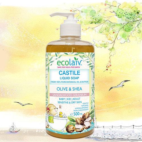 Ecolaiv Castile Olive & Shea Sandalwood Geranium Liquid Soap