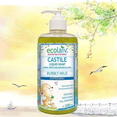 Ecolaiv Castile Bubbly Mild Peppermint Liquid Soap