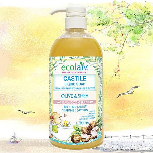 Ecoaliv Castile Olive & Shea Sandalwood Geranium Liquid Soap