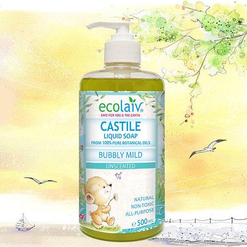 Ecolaiv Castile Bubbly Mild Unscented Liquid Soap