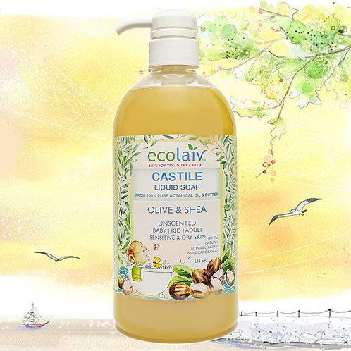 Ecolaiv Castile Olive & Shea Unscented Liquid Soap