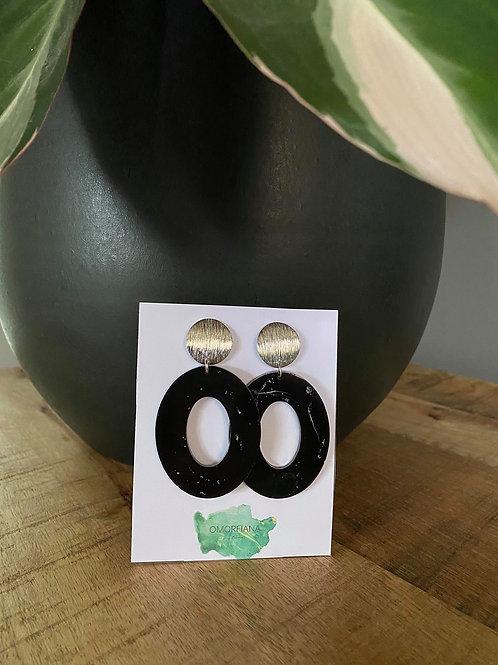 Ronde - zwarte oorbellen