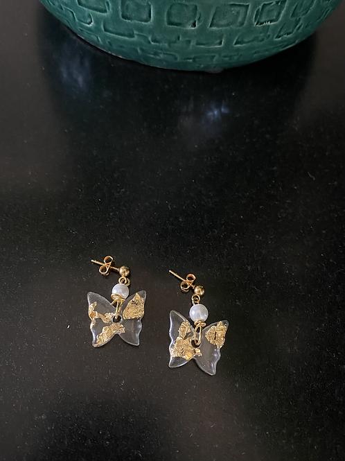 Vlindertjes met bladgoud & parel