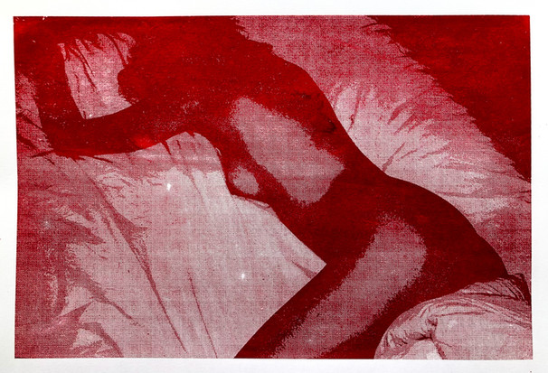 Experimental figurative overlaid screen prints