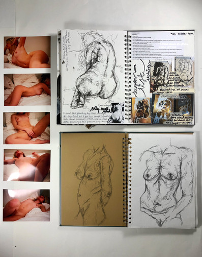 Life drawings with etching plan and film photography