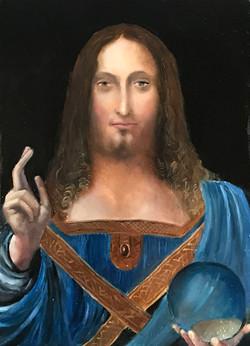 Salvator Mundi 21x15cm oil on mdf £150