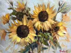 Sun Flowers oil on canvas board £150