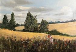 Girl in farm 50x70cm acrylic on canvas £4500