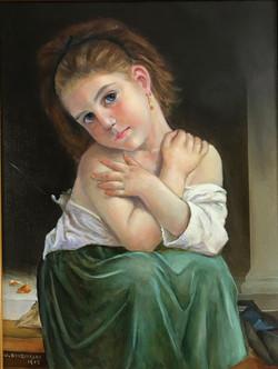 La Frileuse reproduction 40x30cm oil on canvas £1700