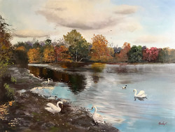 Connaught Water Epping Forest 60x80cm oil on canvas £450