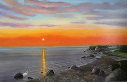 Sunset in Peloponesse Greece 100x150cm oil on canvas £2500
