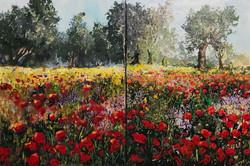poppies field diptich 120 X 80cm acrylic on canvas £1000
