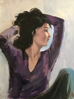 Posing girl 40x50cm oil on canvas £200