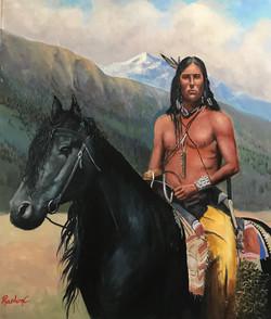Cherokee Indian 40x50cm oil on canvas £350