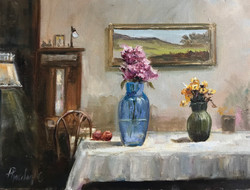 Interior with flowers 30x40cm oil on canvas £200
