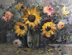 Sunflowers and Roses 76x101cm mixed media £600