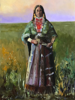 Native indian woman 40x30cm oil on mdf £180