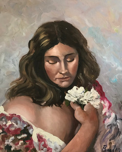 Girl with flowers 40x50cm oil on canvas £200