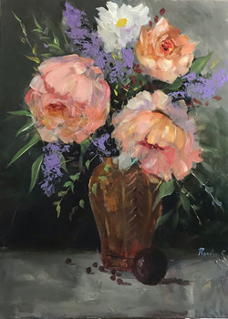 Roses in Vase 60x80cm acrylic on canvas £500