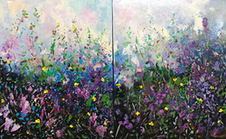 violet flowers diptich 120 X 80 cm acrylic on canvas £1000