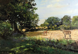 Epping Forest swans green 50x70cm acrylic on canvas £300