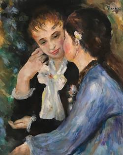 Les deux filles ( copy Renoir) 40x50 cm oil on board £600