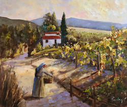 Sunset in vineyards-Greece oil on canvas 50,5x61cm £250