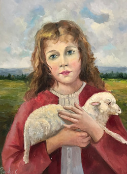 Girl with Lamb 30x40cm oil on mdf £150