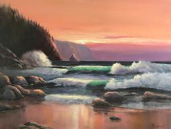 Sunset in Canon beach 40x50cm oil on canvas £300