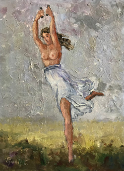 Ancient Dancer B 30x40cm oil on canvas £200