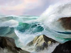 Crashing Waves 30x40cm oil on canvas £250